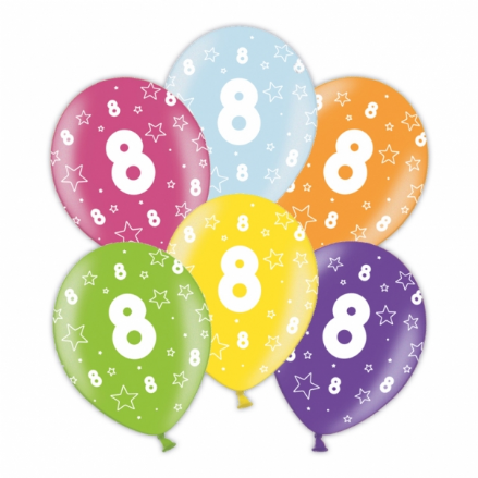 25 x 8th Birthday - Assorted Colour Latex Balloons